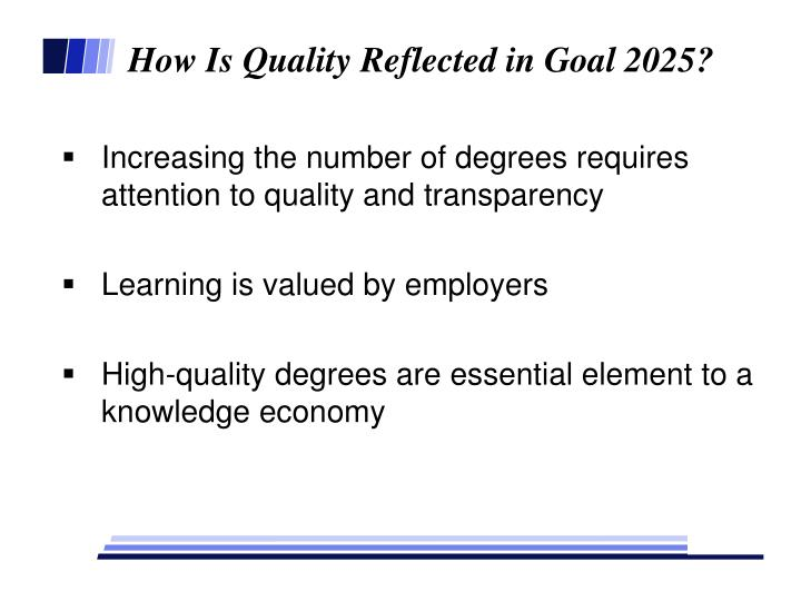 How Is Quality Reflected in Goal 2025?