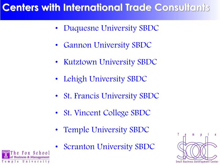 Centers with International Trade Consultants