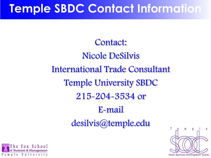 Temple SBDC Contact Information