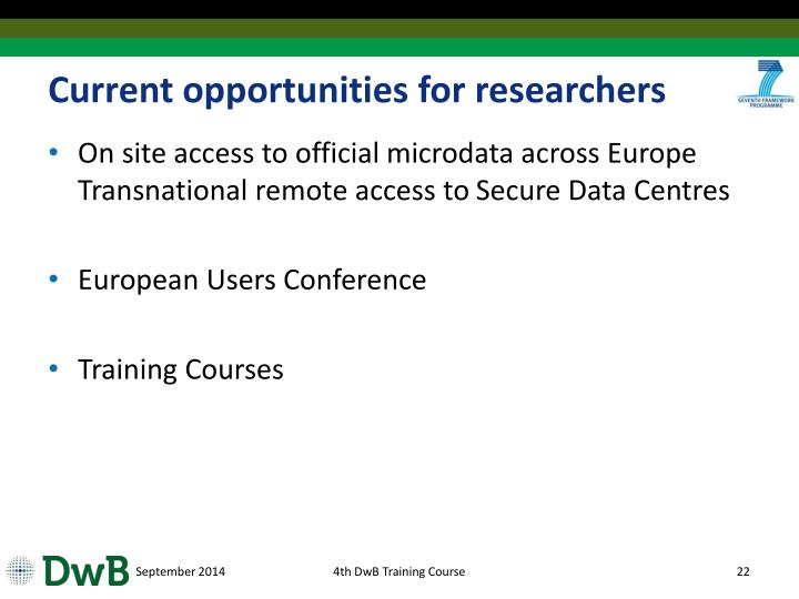 Current opportunities for researchers