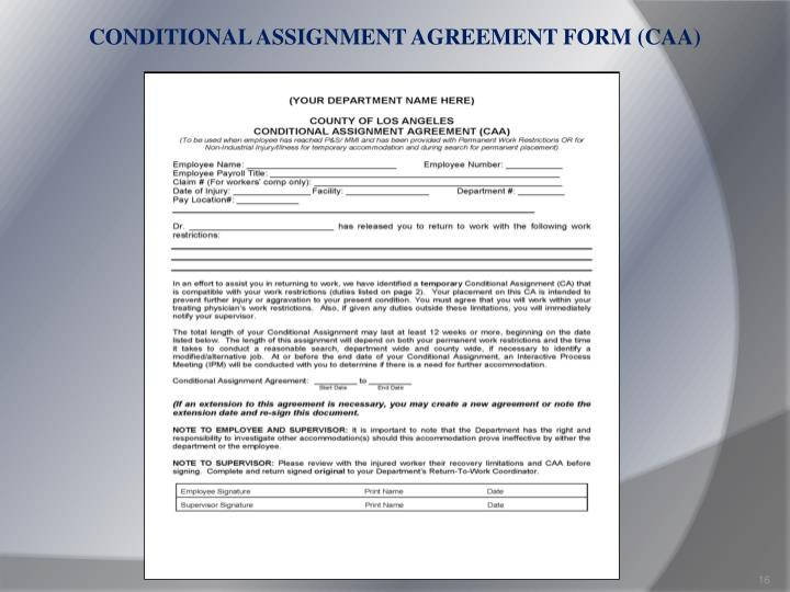 CONDITIONAL ASSIGNMENT AGREEMENT FORM (CAA)