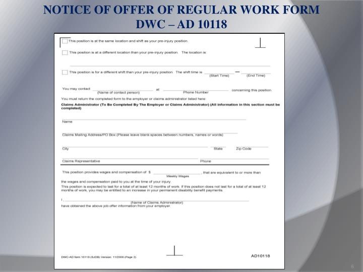 NOTICE OF OFFER OF REGULAR WORK FORM