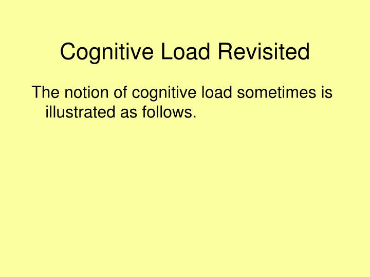 Cognitive Load Revisited