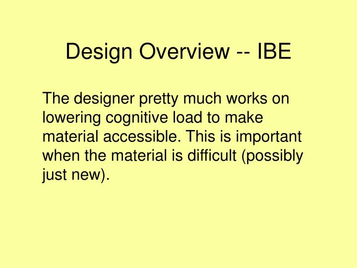 Design Overview -- IBE