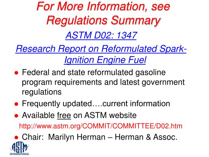 For More Information, see Regulations Summary