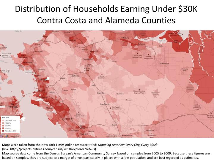 Distribution of Households Earning Under $30K Contra Costa and Alameda Counties