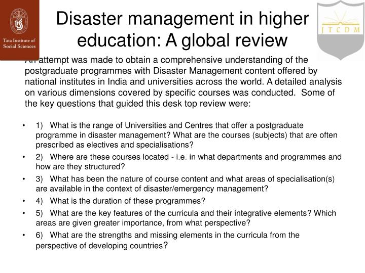Disaster management in higher education: A global review