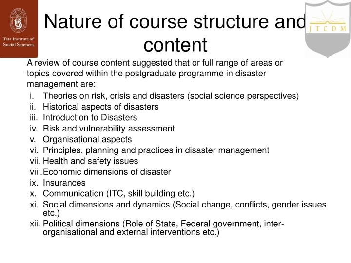 Nature of course structure and content