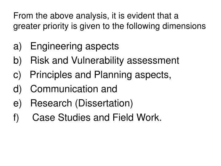 From the above analysis, it is evident that a greater priority is given to the following dimensions