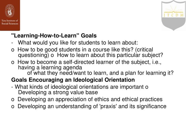 """Learning-How-to-Learn"" Goals"