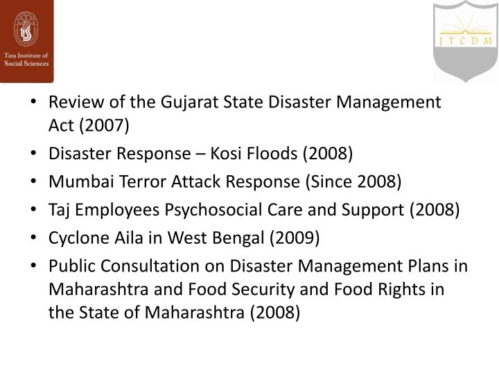 Review of the Gujarat State Disaster Management Act (2007)