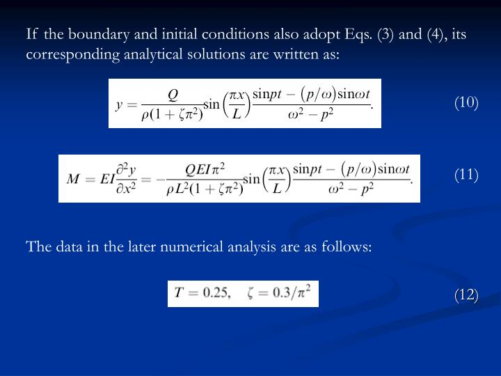 If the boundary and initial conditions also adopt Eqs. (3) and (4), its corresponding analytical solutions are written as: