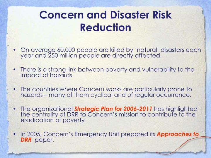 Concern and Disaster Risk Reduction