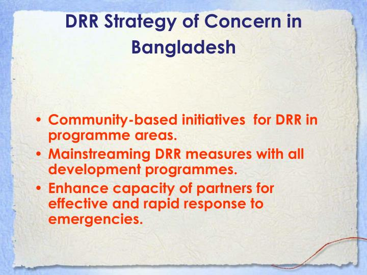 DRR Strategy of Concern in Bangladesh
