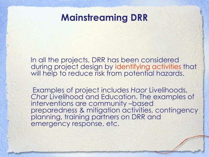 Mainstreaming DRR