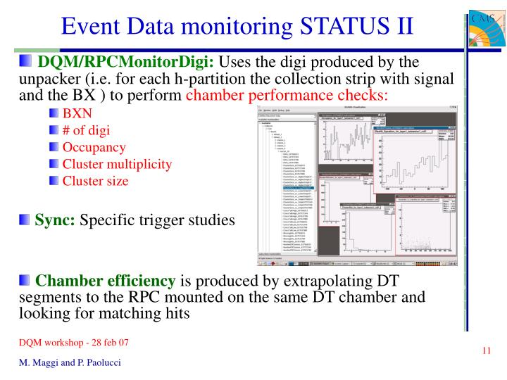 Event Data monitoring STATUS II