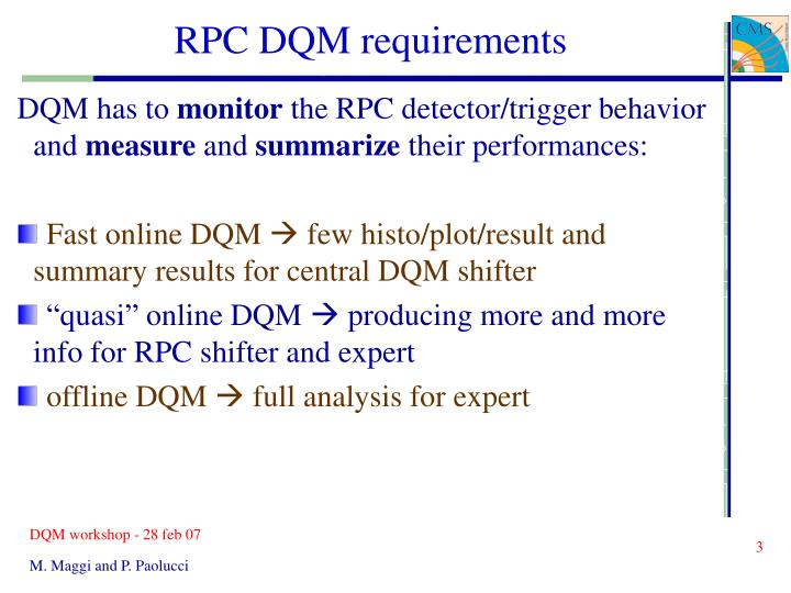 RPC DQM requirements