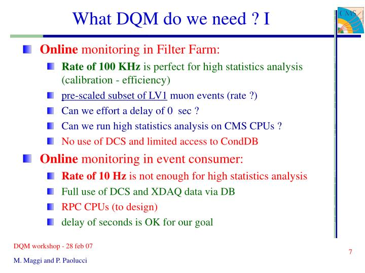 What DQM do we need ? I