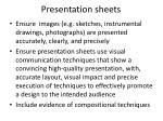 presentation sheets