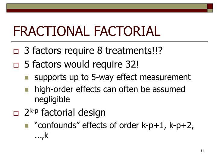 FRACTIONAL FACTORIAL