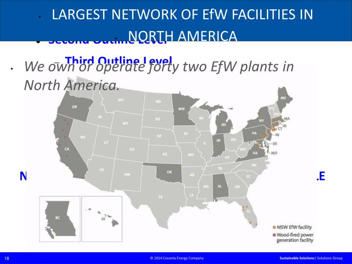 LARGEST NETWORK OF EfW FACILITIES IN
