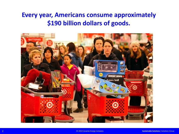 Every year, Americans consume approximately $190 billion dollars of goods.
