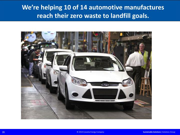 We're helping 10 of 14 automotive manufactures reach their zero waste to landfill goals.