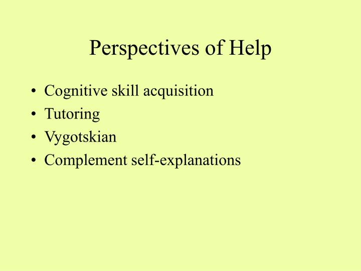 Perspectives of Help