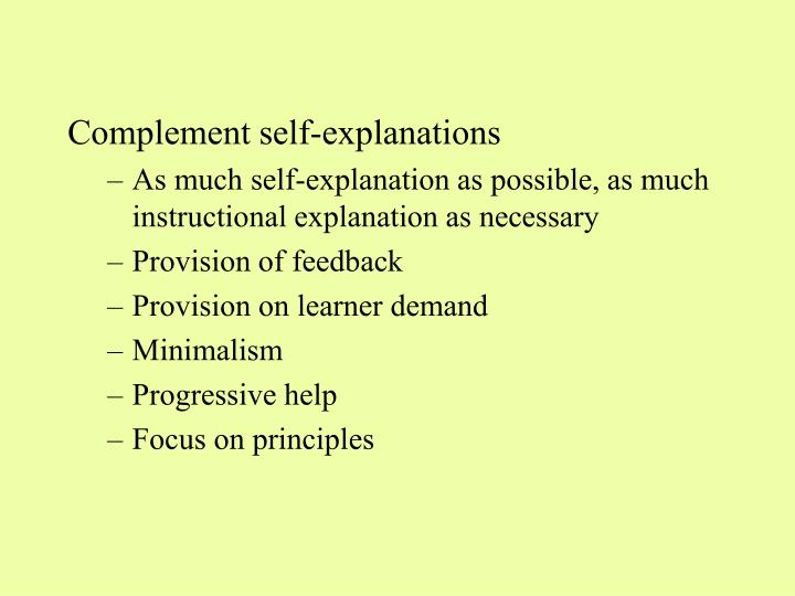 Complement self-explanations