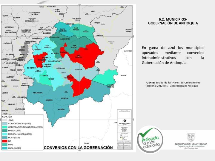 En gama de azul los municipios apoyados mediante convenios interadministrativos con la Gobernación de Antioquia.