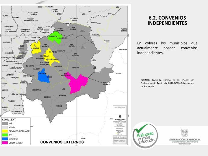 En colores los municipios que actualmente poseen convenios independientes.