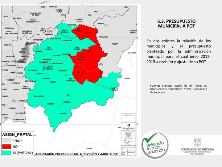 En dos colores la relación de los municipios y el presupuesto planteado por la administración municipal para el cuatrienio 2012-2015 a revisión y ajuste de su POT.