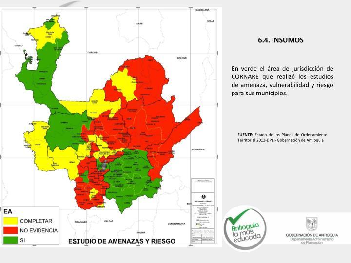 En verde el área de jurisdicción de CORNARE que realizó los estudios de amenaza, vulnerabilidad y riesgo para sus municipios.