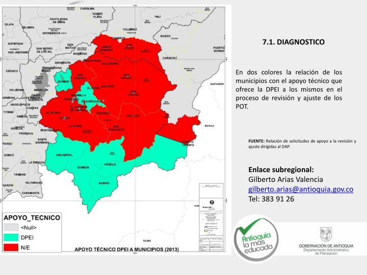 En dos colores la relación de los municipios con el apoyo técnico que ofrece la DPEI a los mismos en el proceso de revisión y ajuste de los POT.