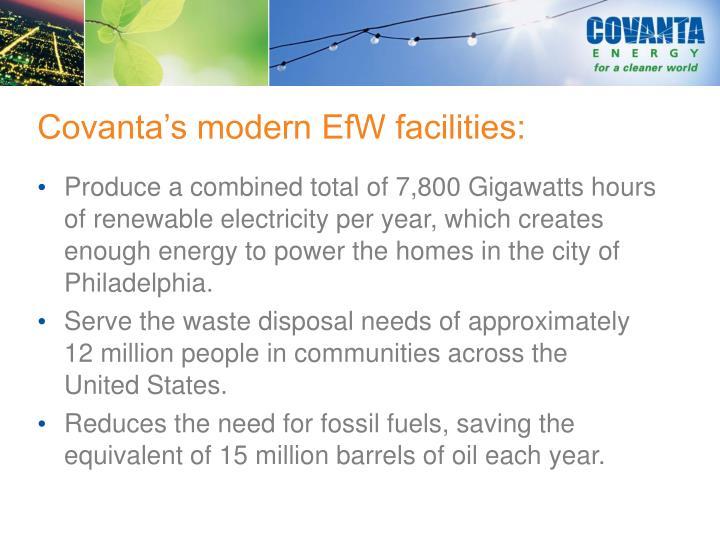 Covanta's modern EfW facilities: