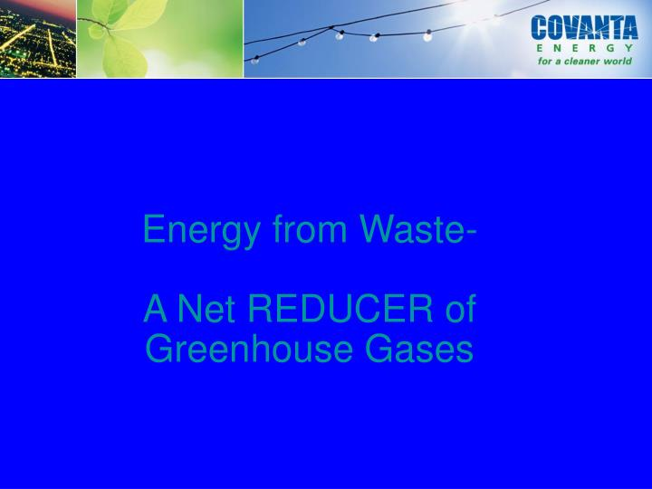 Energy from Waste-