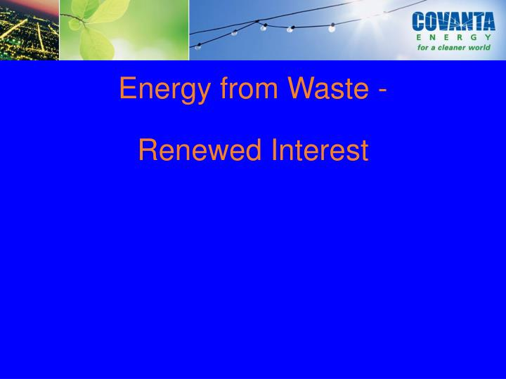 Energy from Waste -