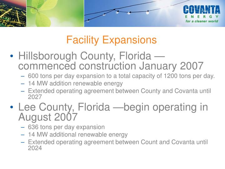 Facility Expansions
