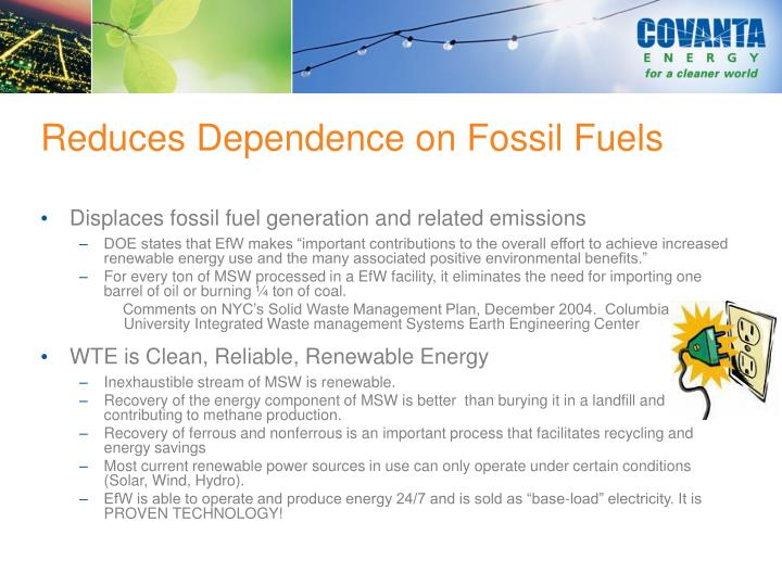 Reduces Dependence on Fossil Fuels