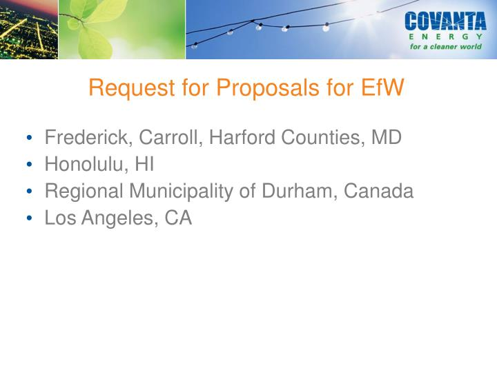 Request for Proposals for EfW