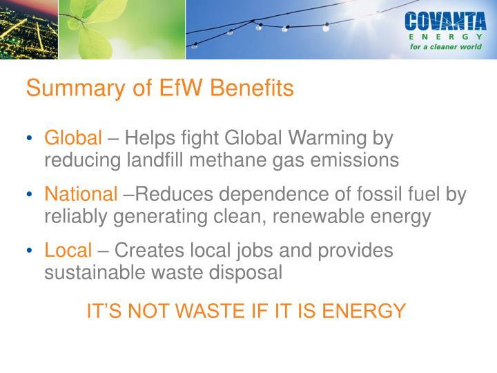 Summary of EfW Benefits