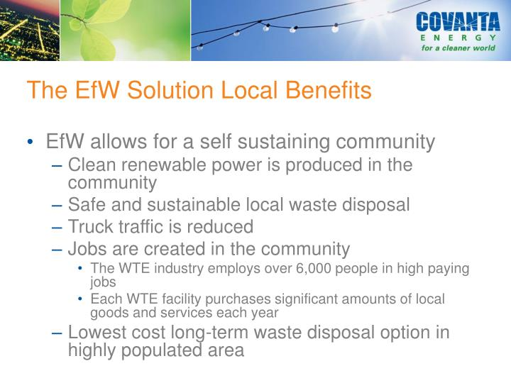 The EfW Solution Local Benefits