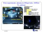 first experiments plasma in 200 m m hole 100torr n 2 ambient