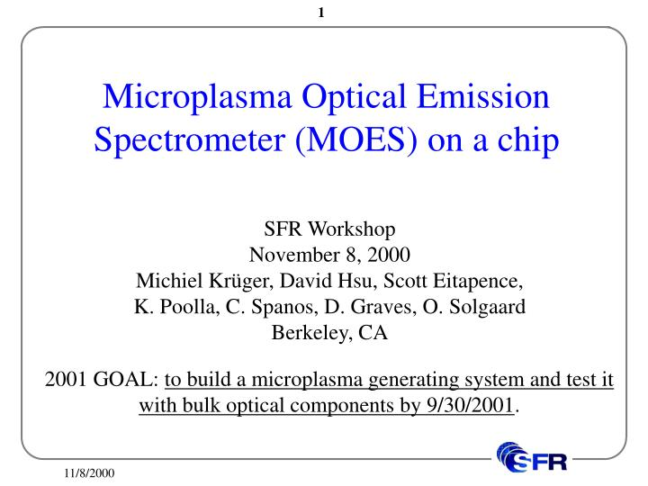 microplasma optical emission spectrometer moes on a chip