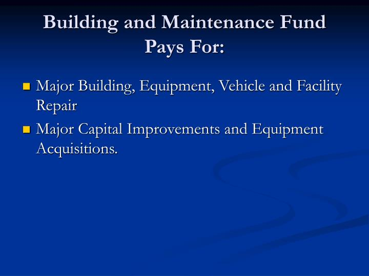 Building and Maintenance Fund Pays For: