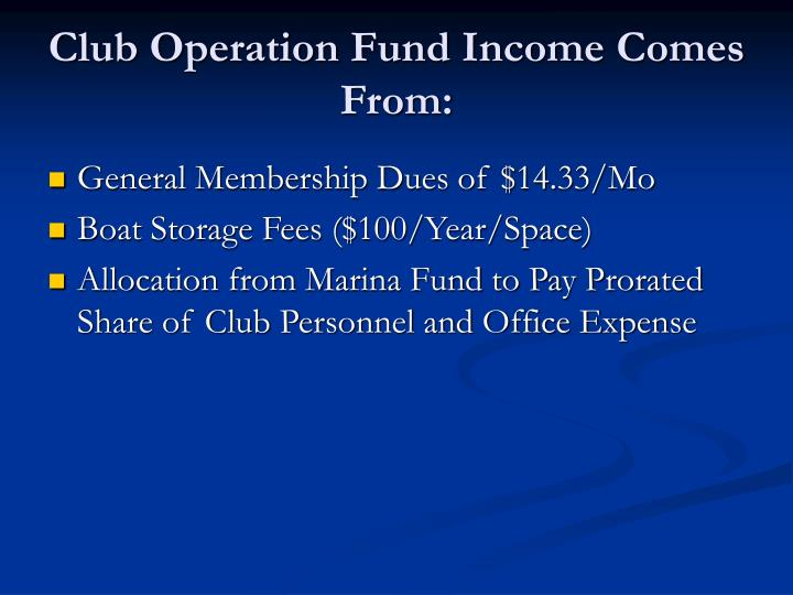 Club Operation Fund Income Comes From:
