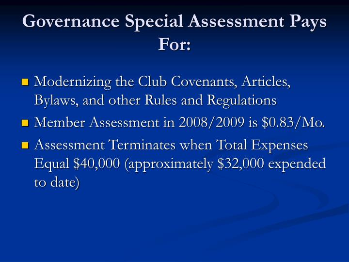 Governance Special Assessment Pays For: