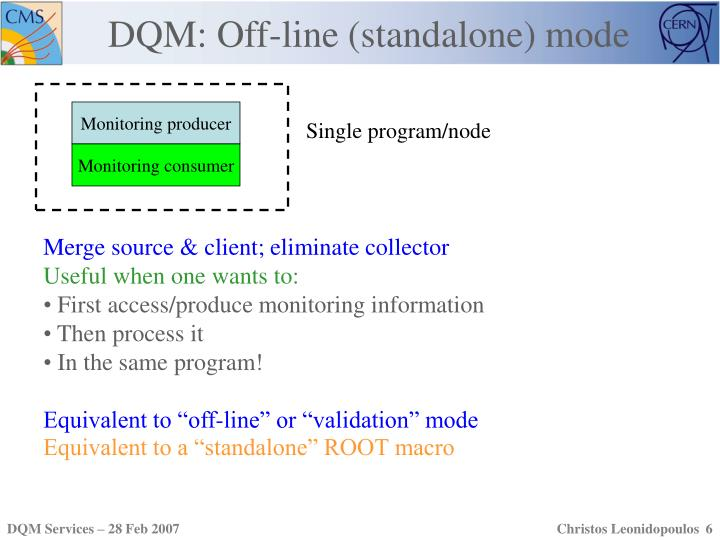DQM: Off-line (standalone) mode