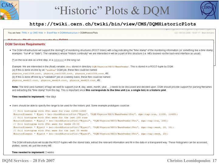 """Historic"" Plots & DQM"