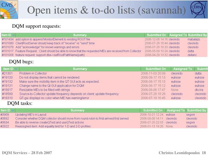 Open items & to-do lists (savannah)